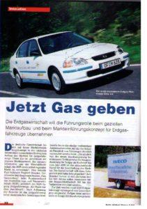 Jetzt Gas geben... bereits 1999 hat das Magazin unseres Verlages Umwelt-Energie-Report berichtet, dass die Erdgaswirtschaft zum Beispiel die Führungsrolle für Erdgasfahrzeuge übernehmen will. Nun fordert der DVGW einen Neustart der ausgereiften Erdgasmobilität...?