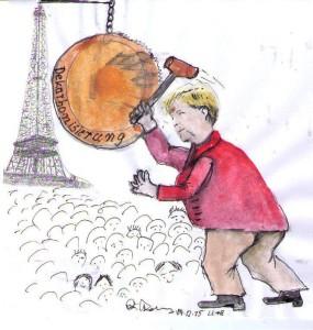 Kanzlerin Angela Merkel: Sie schlägt den großen Gong für die Welt-Energie-Revolution, das war auf Schloss Elmau und dann in Paris ...