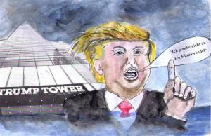 Präsidentschaftsanwärter der Republikaner in den USA,Donald Trump: Ich glaube nicht an den Klimawandel, Eine Erfindung der Chinesen ... Zeichnung U&E pointer