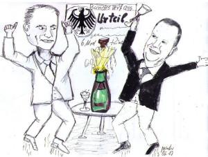 E.on-Chef Johannes Teyssen (links) und RWE-Chef Peter Terium: Sie jubelten im vergangenen Juni noch zusammen über das Urteil der ahnungslosen Richter ...
