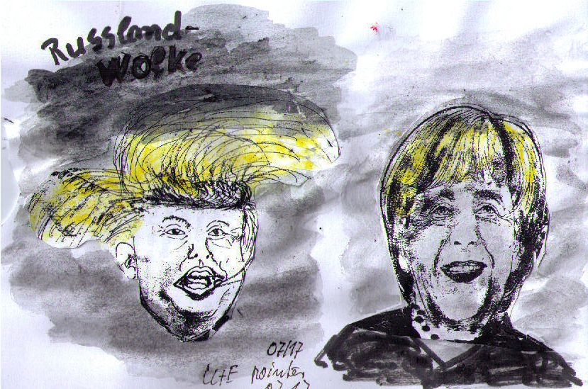14.07.17 Karikatur Trump und Merkel