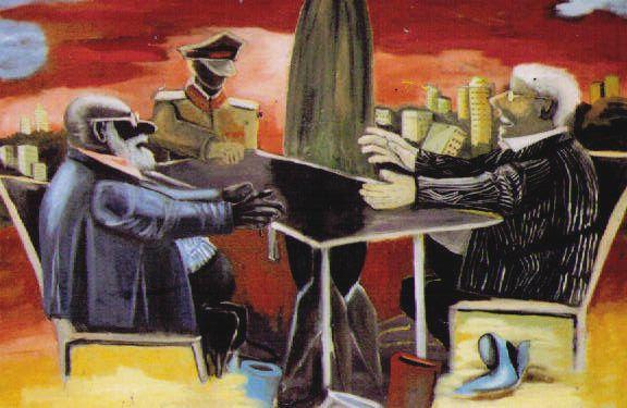 """""""Wenn die Bundesregierung es mit Atomausstieg und atomarer Abrüstung ernst meint..."""" ; ...Öl auf Canvas, 1,90 x 1,45m , D. Kassing"""