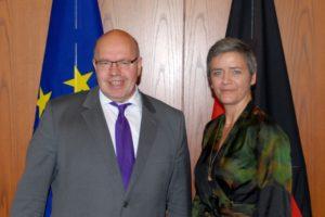 Mehr Stromversorger haben Zugang zum deutschen Markt.....; Peter Altmaier und Margrethe Vestager, bild susanne Eriksson