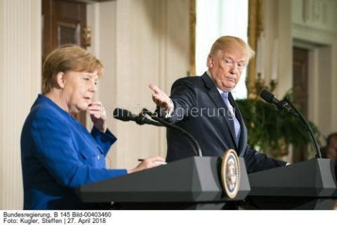 Deutschland kann Gas aus Russland kaufen..; Angela Merkel und Donald Trump im WhiteHouse, Bild Steffen Kugler BBildst.