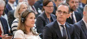 """Russland würde es alleine machen .""""; Heiko Maas, hier mit der kanadischen Außenministerin Chrystia Freeland"""