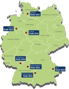 Noch laufende Atommeiler in Deutschland, Grafik BMU