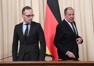 Nord-Stream 2: Nicht nur in Moskau ein Thema... auch beim Petersburher Dialog in Bonn, Petersberg...; hier Außenminister Heiko Maas mit seinem russischen Amtskollegen Sergej Lawrow