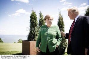 Ihr müsst mehr LNG von uns kaufen ... sonst ..., Kanzlerin Angela Merkel und US-Präsdident Donald Trump, bild jesco denzel
