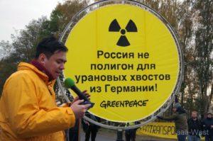 """...sofortiger Stopp der Atomtransporte nach Russland...!!!"",Rashid Alimov. Alimov. bild greenpeace"