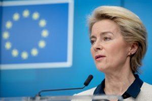 """Wasserstoff kann Sektoren mit Energie versorgen, die nicht für die Elektrifizierung geeignet sind"""" ...Wir brauchen den Green Deal., Ursula von der Leyen ...; Bild EU"""
