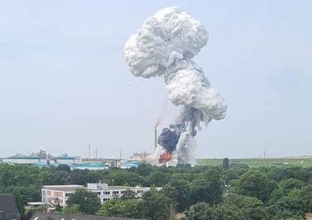 Die Detonation erfolgte im Tanklager der Sondermüllverbrennungsanlage...; Bild bbu